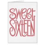 Tarjeta rosada del dulce dieciséis