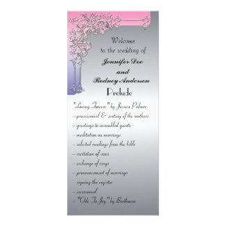 tarjeta rosada del estante del programa de la boda diseño de tarjeta publicitaria