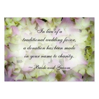 Tarjeta rosada del favor de la caridad del boda de tarjetas de visita