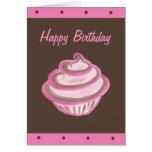 Tarjeta rosada del feliz cumpleaños de la magdalen