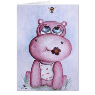 Tarjeta rosada del hipopótamo