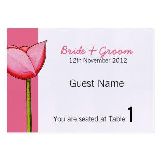 Tarjeta rosada del lugar de las flores simples tarjetas de visita grandes