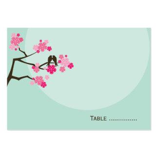 Tarjeta rosada del lugar del boda del pájaro del tarjetas de visita grandes