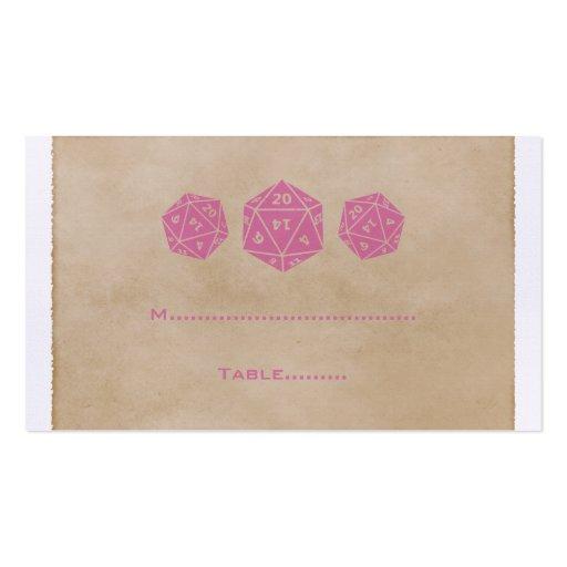Tarjeta rosada del lugar del videojugador de los tarjetas de visita