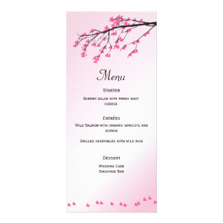 Tarjeta rosada del menú de la flor de cerezo el lona publicitaria