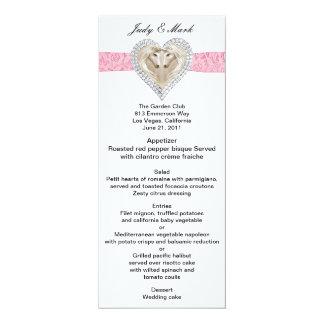 """Tarjeta rosada del menú del boda del cordón del invitación 4"""" x 9.25"""""""