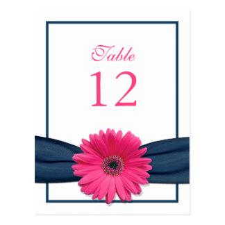 Tarjeta rosada del número de la tabla de la cinta postal