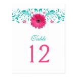 Tarjeta rosada del número de la tabla de la margar tarjeta postal