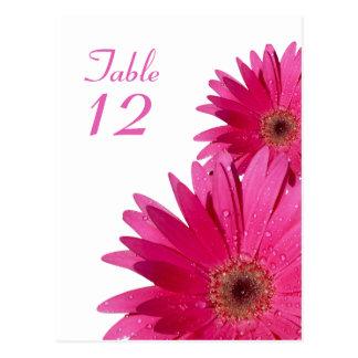 Tarjeta rosada del número de la tabla de la tarjetas postales