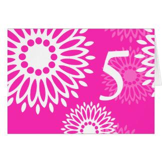 Tarjeta rosada del número de la tabla de las flore
