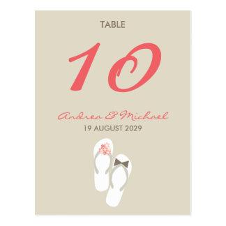 tarjeta rosada del número de la tabla de los postal