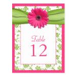 Tarjeta rosada del número de la tabla del damasco