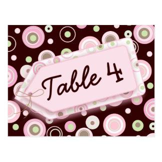 Tarjeta rosada del número de la tabla del lunar de tarjeta postal