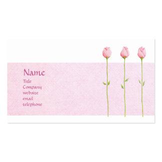 Tarjeta rosada del perfil de 3 capullos de rosa tarjetas de visita