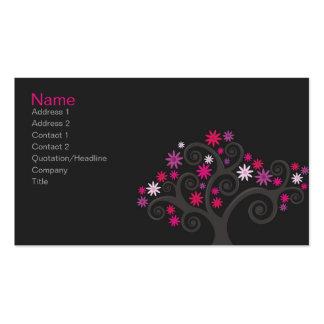 Tarjeta rosada del perfil de las floraciones tarjetas de visita