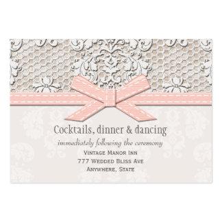 Tarjeta rosada del recinto de la recepción nupcial tarjetas de visita