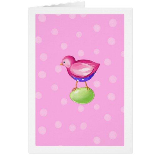 Tarjeta rosada del rosa del pájaro