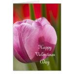 tarjeta rosada del tulipán