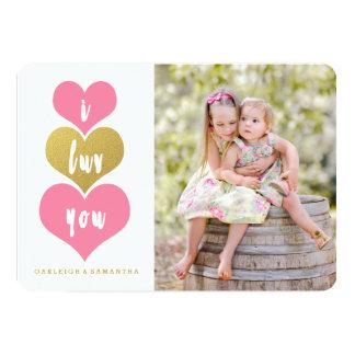 Tarjeta rosada dulce de la foto del el día de San Invitación 12,7 X 17,8 Cm
