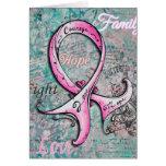 Tarjeta rosada elegante caprichosa del cáncer de p
