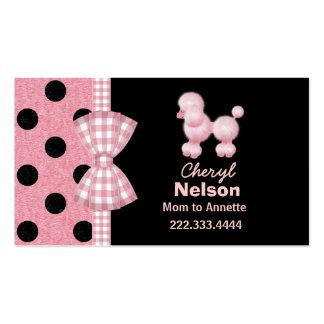 Tarjeta rosada elegante de la mamá del caniche tarjetas de visita