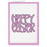 Tarjeta rosada feliz de Pascua