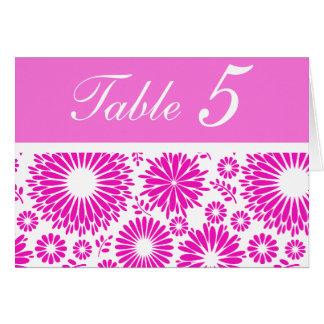 Tarjeta rosada floral del número de la tabla del v