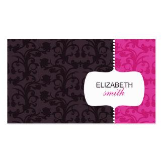 Tarjeta rosada/gris del damasco caprichoso de visi tarjeta de visita