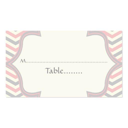 Tarjeta rosada, gris del lugar del boda del zigzag tarjetas de visita