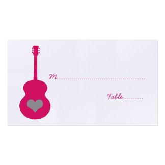 Tarjeta rosada/gris del lugar del corazón de la gu tarjeta personal