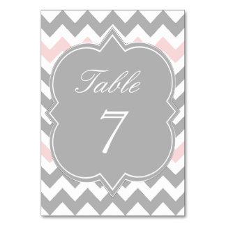 Tarjeta rosada gris del número de la tabla de Chev