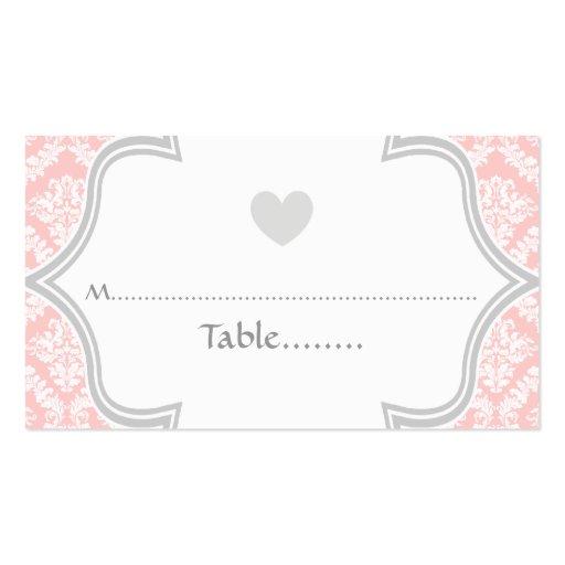 Tarjeta rosada, gris elegante del lugar del boda tarjetas de visita