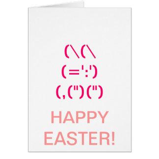 Tarjeta rosada linda del símbolo del conejito
