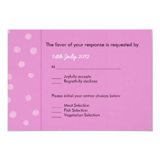 """Tarjeta rosada pintada de RSVP de los puntos que Invitación 3.5"""" X 5"""""""