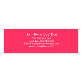 Tarjeta rosada retra del perfil tarjetas personales