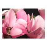 Tarjeta rosada romántica de RSVP de la orquídea