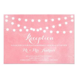 Tarjeta rosada rústica blanca de la recepción de l