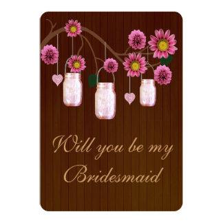 Tarjeta rosada rústica de la dama de honor de los anuncio personalizado