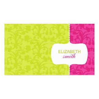 Tarjeta rosada/verde del damasco caprichoso de vis tarjeta de visita
