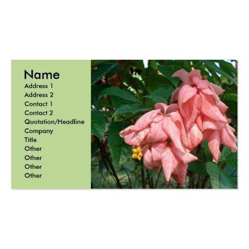 Tarjeta rosada y amarilla de Fiji de la flor del e Plantillas De Tarjetas Personales