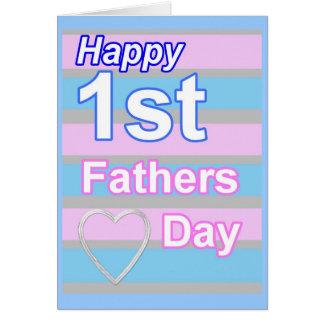 Tarjeta rosada y azul del primer día de padres de