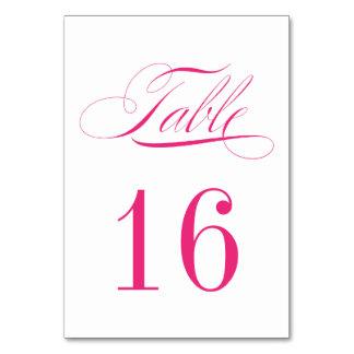 Tarjeta rosada y blanca magenta formal del número