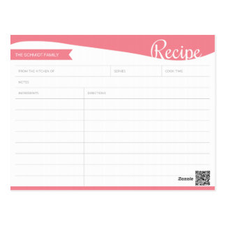 Tarjeta rosada y blanca personalizada de la receta postal