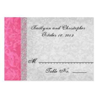 Tarjeta rosada y de plata del lugar de la tabla -  tarjetas de visita