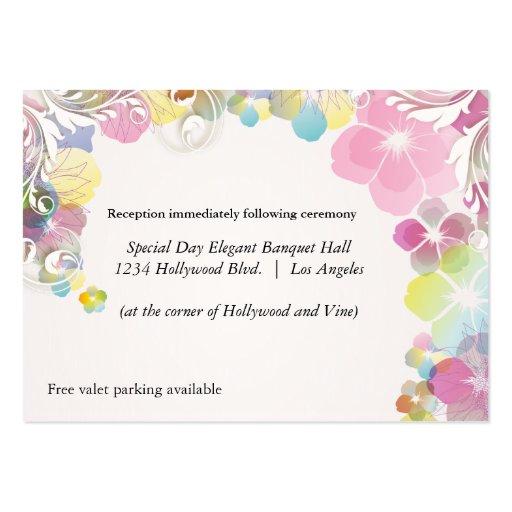 Tarjeta rosada y multicolora de la recepción de tarjetas de visita grandes