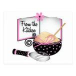 Tarjeta rosada y negra de la receta postal