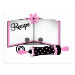Tarjeta rosada y negra de la receta tarjeta postal
