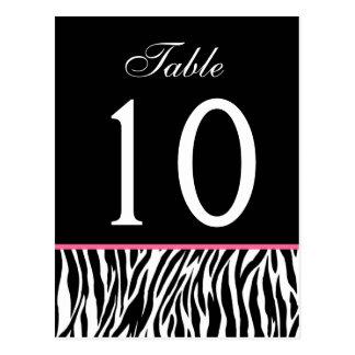 Tarjeta rosada y negra del número de la tabla del tarjetas postales