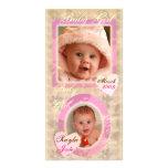 Tarjeta rosada y poner crema de la niña del vintag tarjeta fotografica personalizada