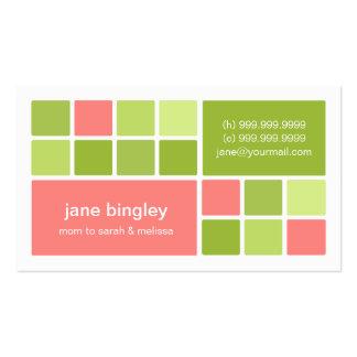 """Tarjeta rosada y verde del """"cuadrado uno"""" de la ma tarjetas de visita"""